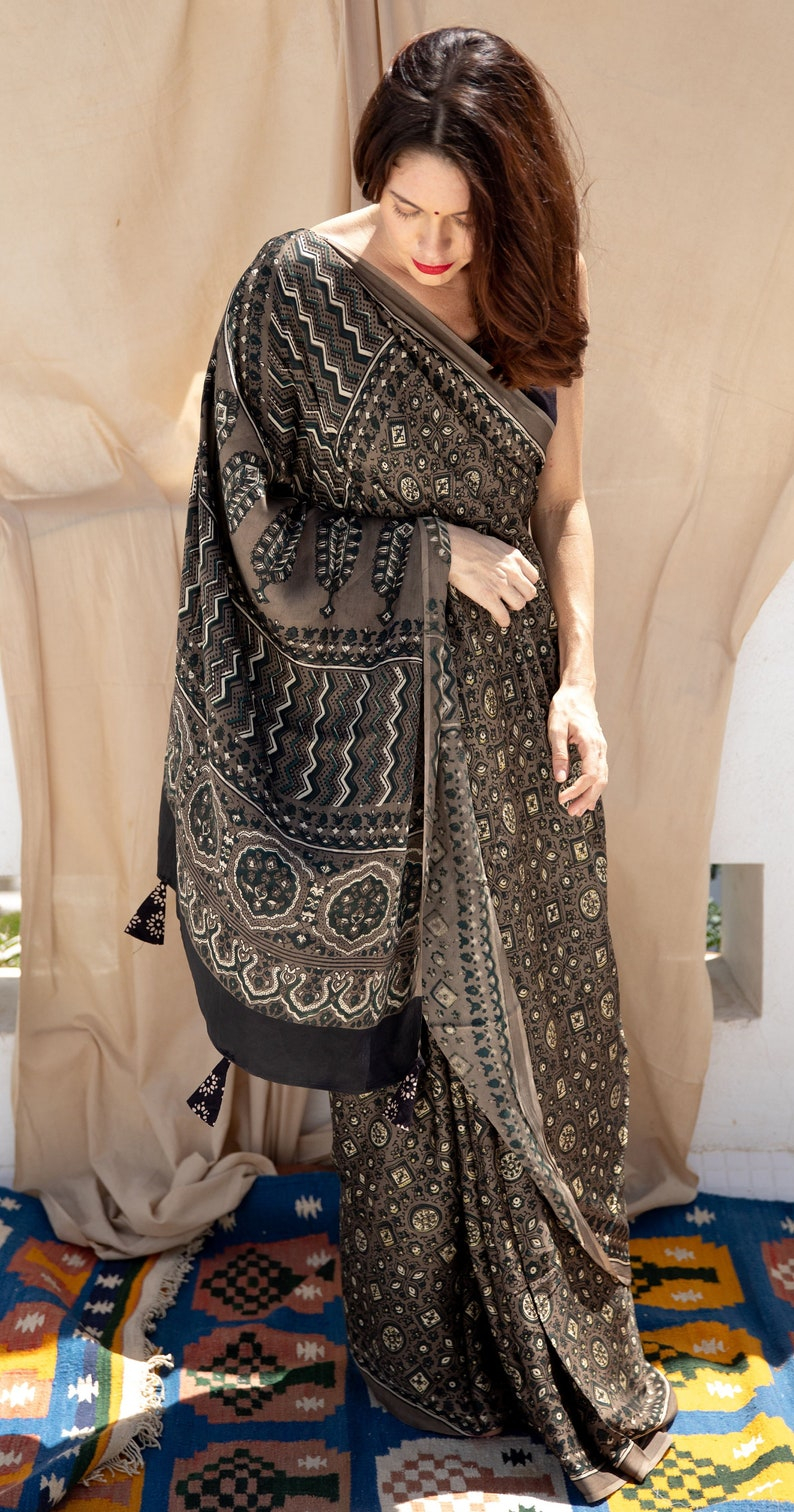 Handcrafted Ajrakh Saree in grey color made using natural clay modal silk organic