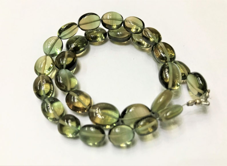 8*10MM Magneficent Green Hydro Quartz Smooth BeadsGreen Hydro Quartz Oval Shape Gemstone Beads.8-10MM 12\u201d Elegant Green Hydro STRAND
