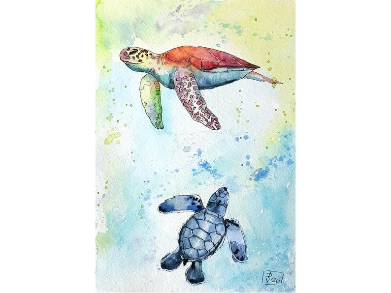 Sea Turtle Painting Original Art Watercolor Animal Nautical image 0