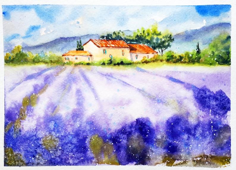 Tuscany Painting Lavender Original Art Farm Landscape image 0