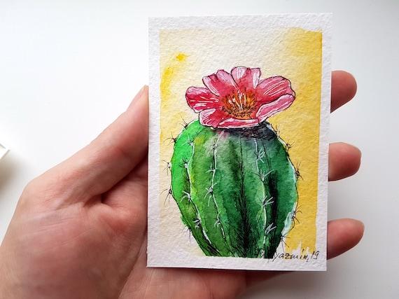 Cactus Painting Original Watercolor Desert Succulent Small Artwork by IIArtStudio 5x7 in