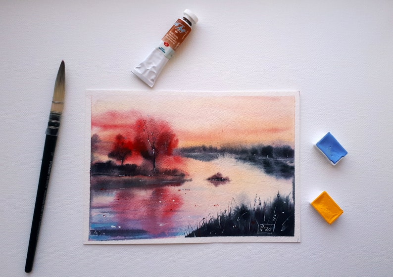 Vermont Painting Original Art West River Watercolor Fog Trees Wall Art Landscape Artwork 6x8 by PaintingGiftsArt