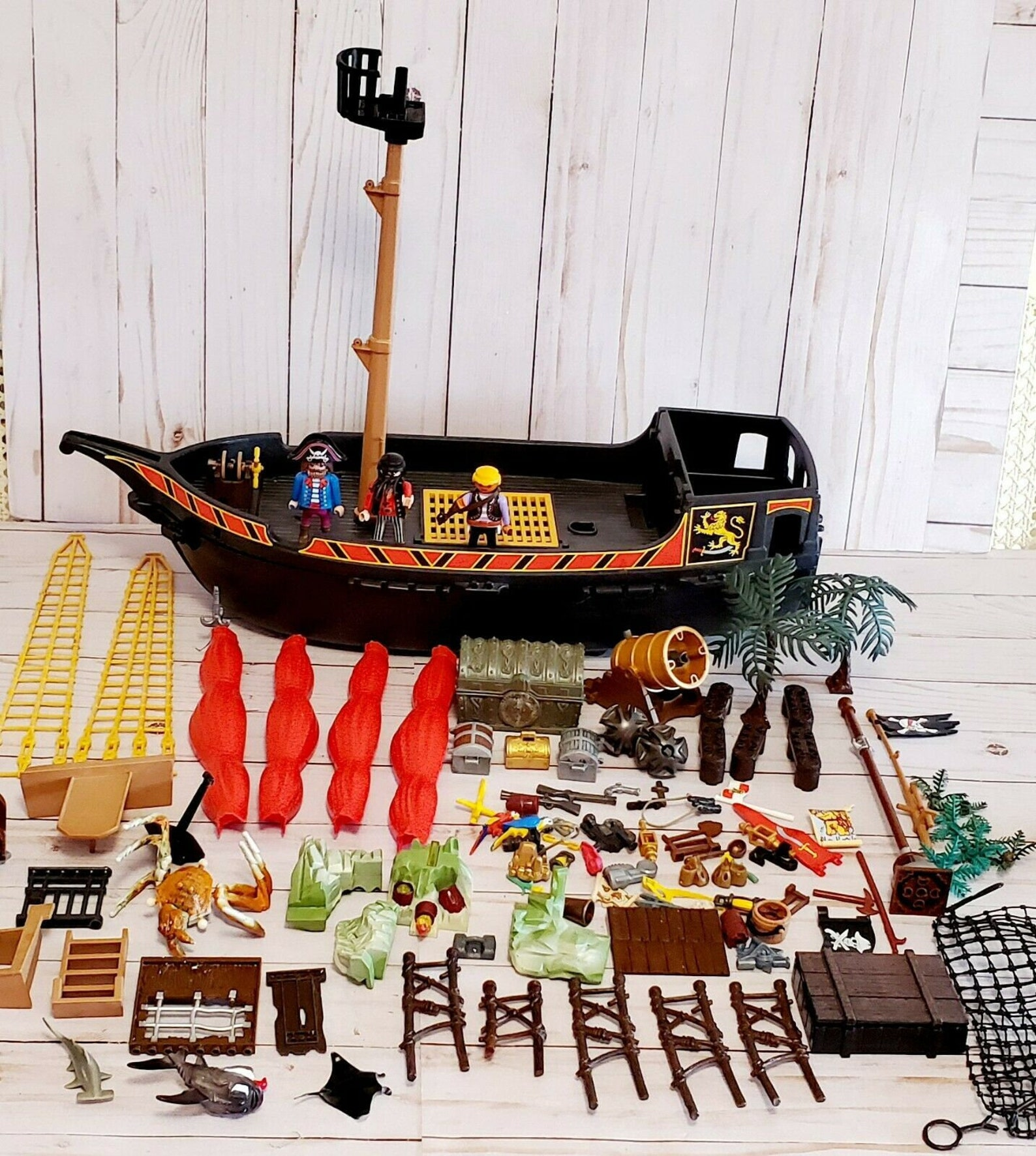 Vintage Playmobil 5736 Blackbeards Pirate Ship incomplete and Huge Lot of Accessories - 1978 Geobra for Parts
