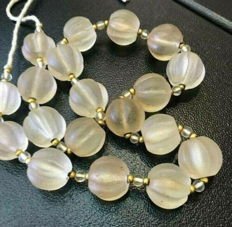 "Vintage Amethyst Pumpkin melon Carved Luxury Bead Necklace  Strand 17/"" Finest"