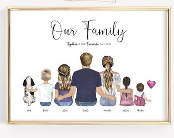 Personalised Family Portrait Print Gift Birthday Up to 10 People A4 High Gloss