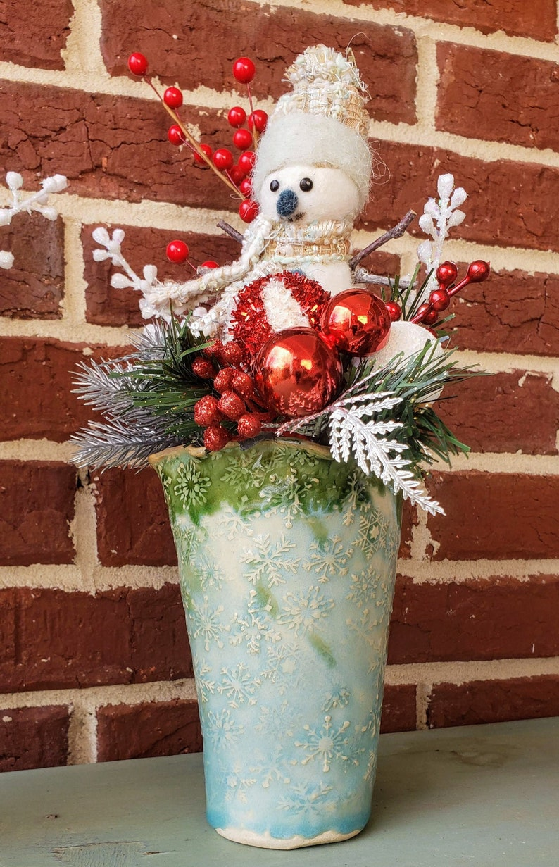 Handmade Snowflake Vase with Holiday Arrangement image 0