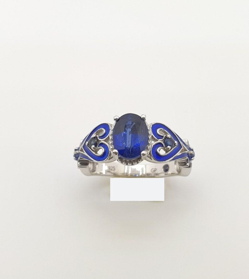 Blue Kyanite ring Blue enamel ring,blue kyanite enamel ring Natural top quality blue kyanite oval studded enamel work sterling silver ring