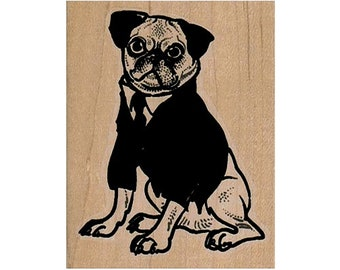 Pug Heart Stamp Rubber Stamp