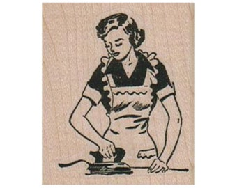 Smoking Rubber Stamp Housewife Rubber Stamp Lady Rubber Stamp Smoking Woman in Curlers RUBBER STAMP 50s Lady Rubber Stamp Retro Stamp