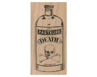 Poison Stamp Potion Pasteurs Death Potion RUBBER STAMP Halloween Stamp Witches Brew Stamp Apothecary Skull and Crossbones Stamp