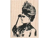 Lady With Opera Glasses RUBBER STAMP, Victorian Lady Stamp, Victorian Stamp, Steampunk Lady Stamp, Steampunk, Lady Stamp, Woman Stamp