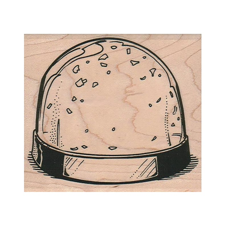 SnowGlobe RUBBER STAMP Christmas Stamp Winter Stamp Holiday image 0