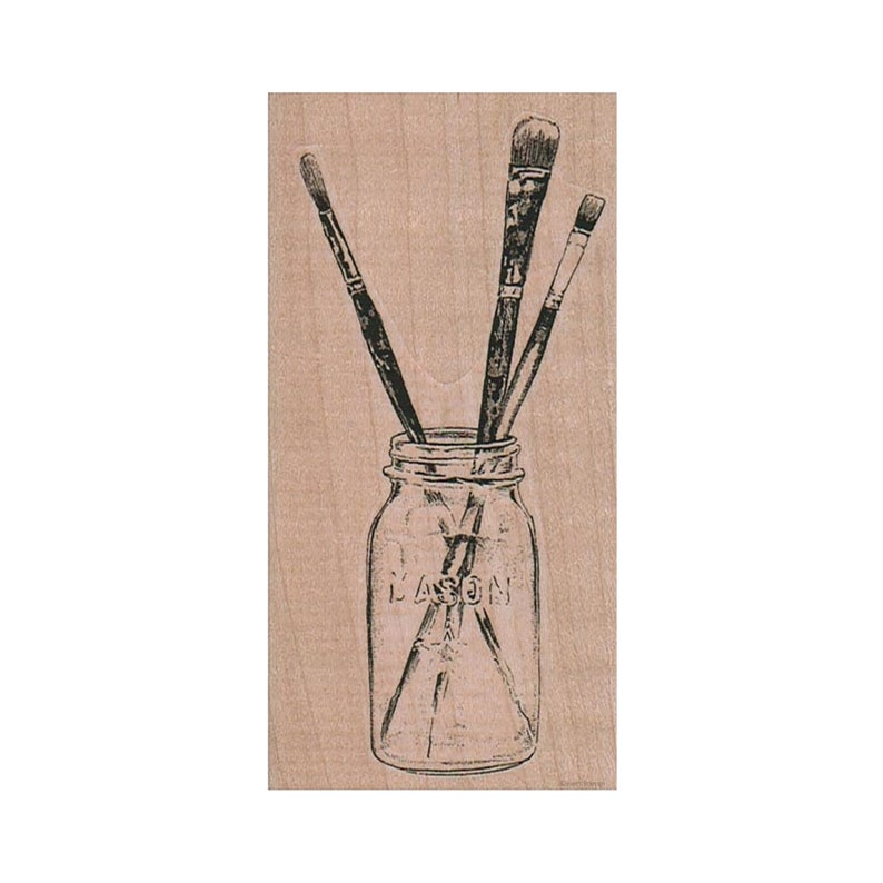Mixed Media Stamp Painting Stamp Painter Art Stamp Art Lover Stamp Art Supplies Stamp Paint Brushes in Jar RUBBER STAMP Brushes Stamp