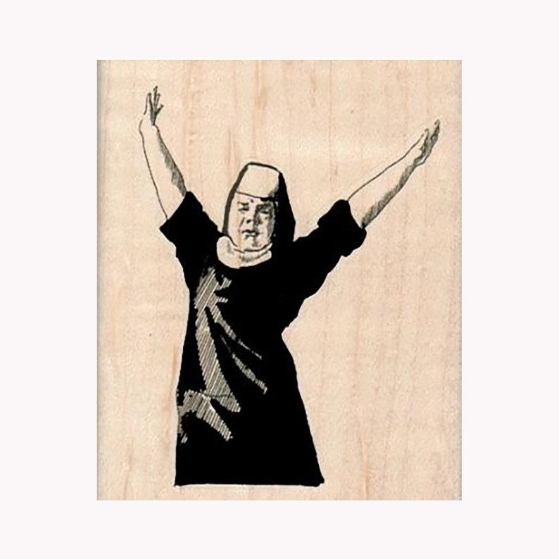 Funny Nun Stamp Dancing Nun Stamp Happy Nun Stamp Celebrating Nun Stamp Nun With Hands Up RUBBER STAMP Spirituality Stamp Nun Stamp