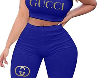 b1ffa28ca Womens Inspired Gu Cci 2 Piece Shorts and Crop Top Set S-2XL
