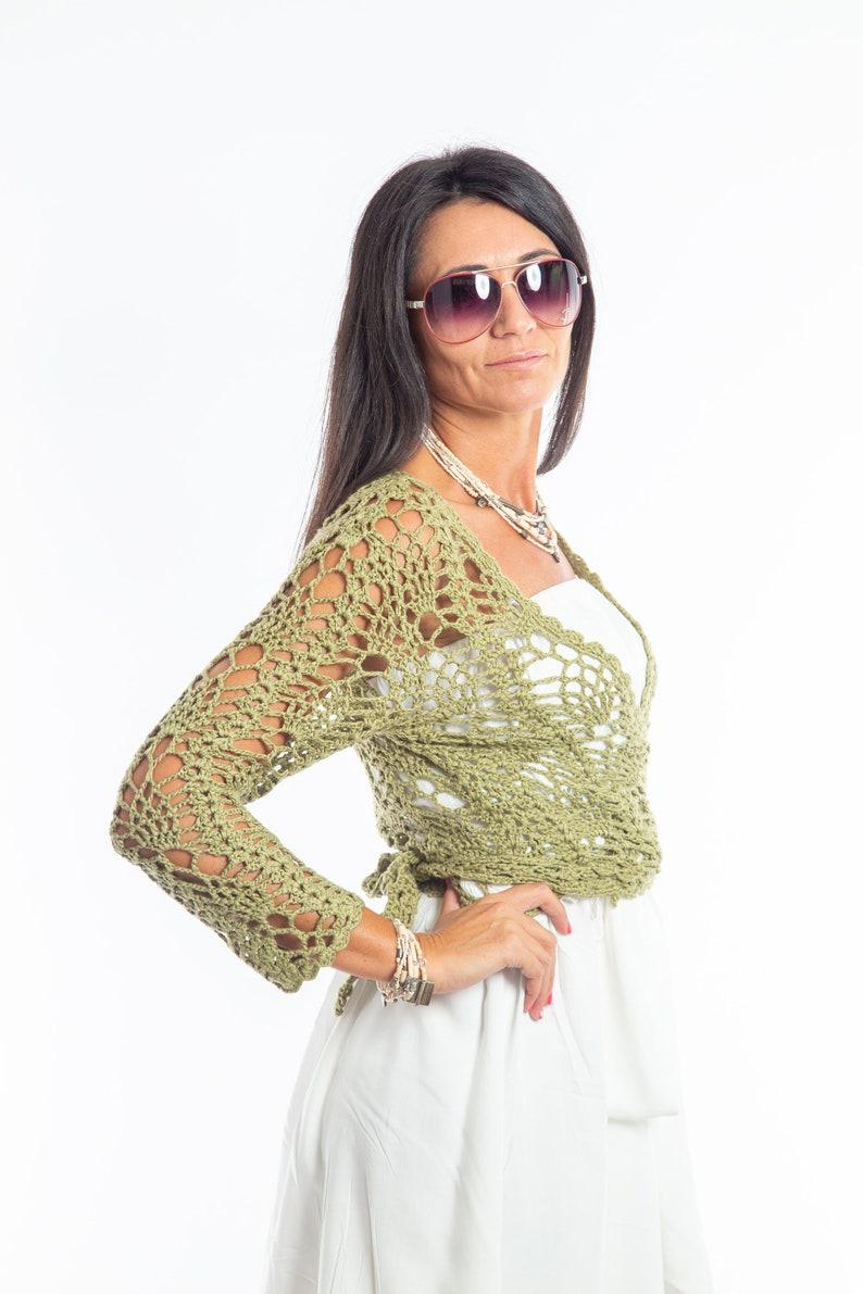 Boho Chic Olive Hug me Wrap Lace Freeform Crochet Cotton Shrug Bolero Summer Fashion Luxury Hand crochet woman shrug little cardigan Top