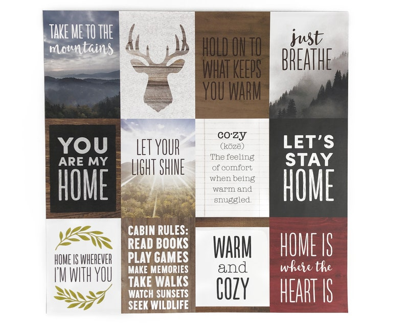 3x4 Journal Cards Cozy Home Theme set of 12 for Pocket image 0