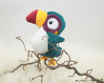 Stuffed Toucan - Handmade fluffy cuddly toy (plush toy) for birth, birthday, baptism - sustainably produced