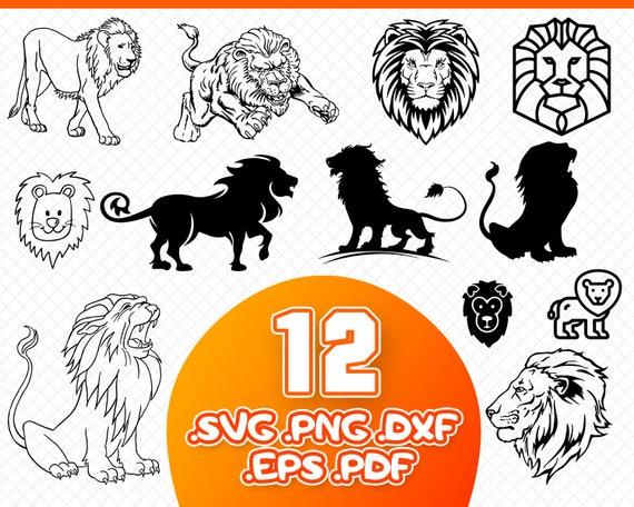 Lion Svg Lion Cut File Lion Silhouette Lion Clipart Lion Etsy