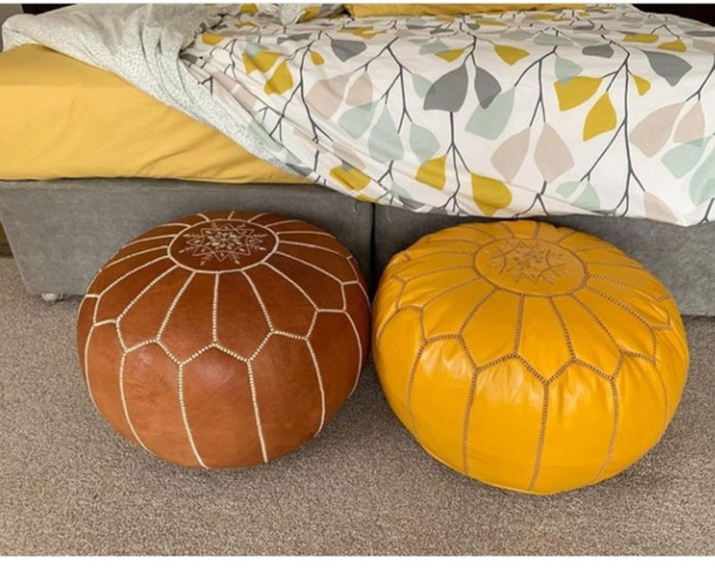 Cool Set Of 2 Moroccan Poufs Leather Poufs Ottomans Poufs Moroccan Ottomans Moroccan Sofa Home Decor Leather Sofa Moroccan Chairs Machost Co Dining Chair Design Ideas Machostcouk