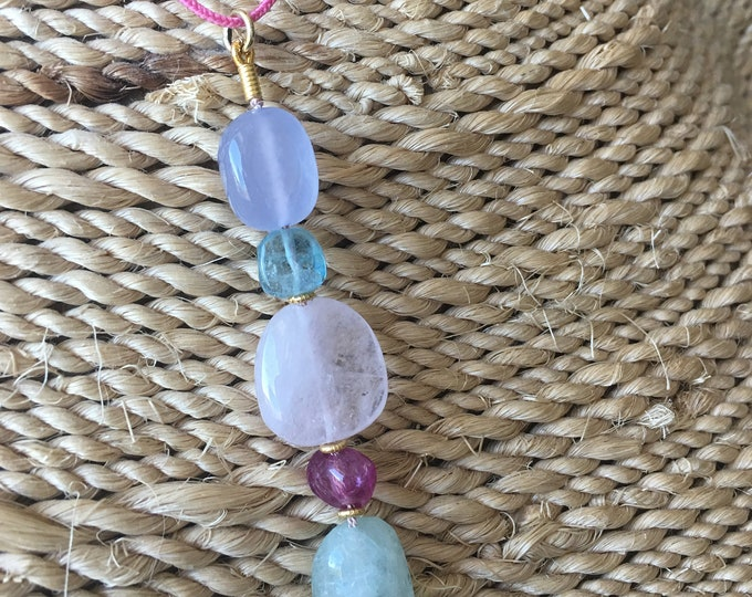 Sophisticated hippie Pendant with natural gems