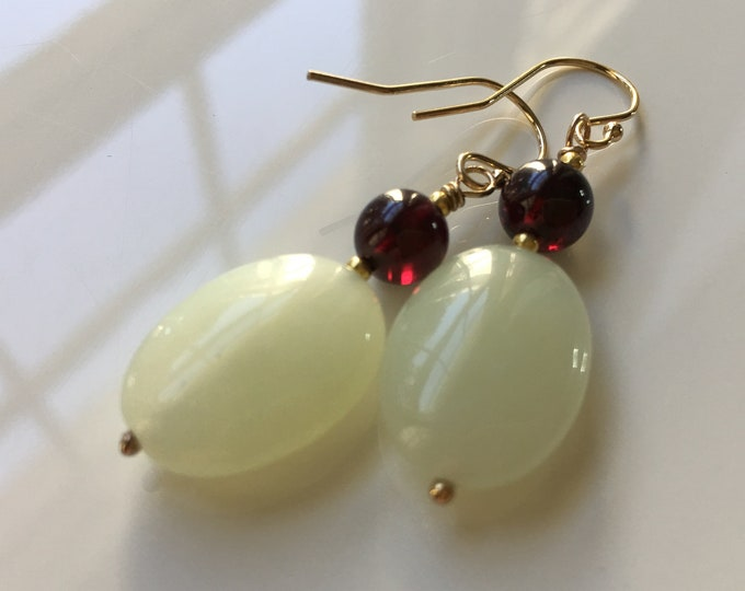 Jade and Garnet Earrings