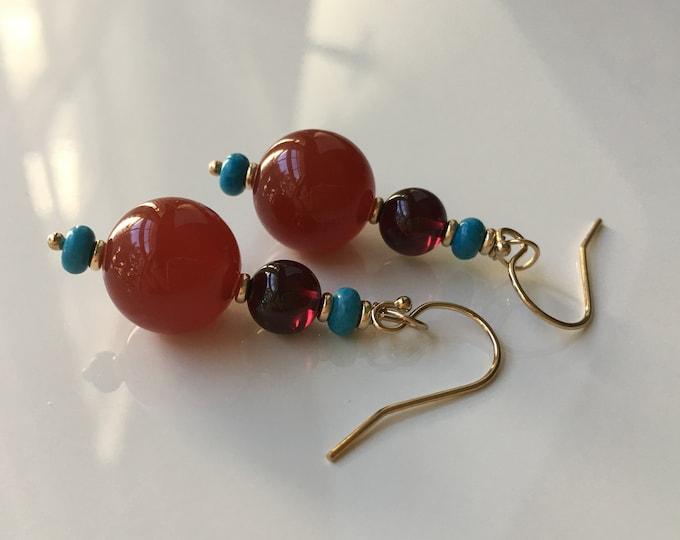 Garnet, Cornalina and Turquoise Earrings