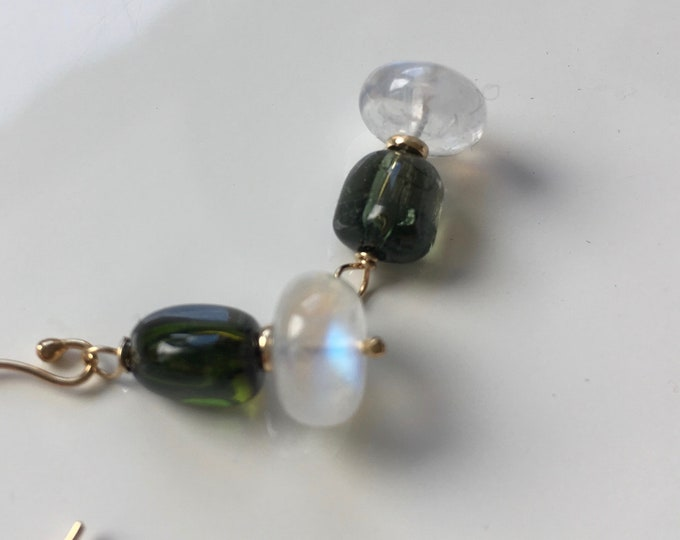 Moonstone and Green Tourmaline