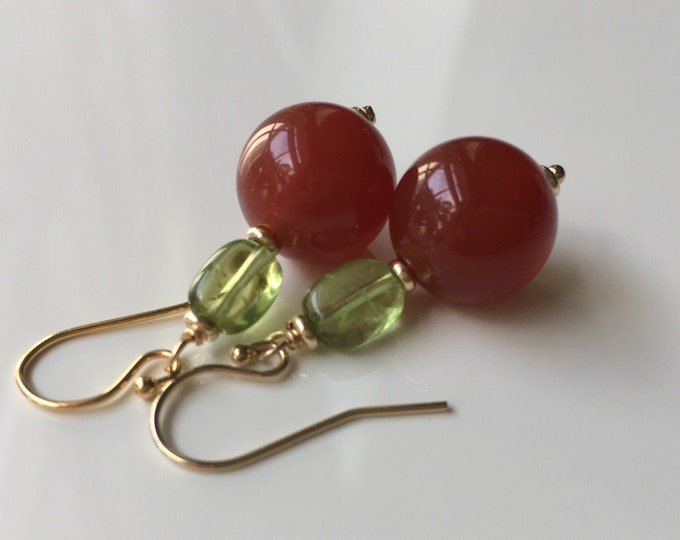 Cornalina and Peridot or Cornaline and Amethyst Earrings
