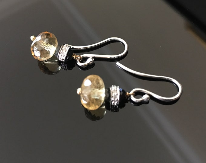 Citrine and Diamond Pave Earrings