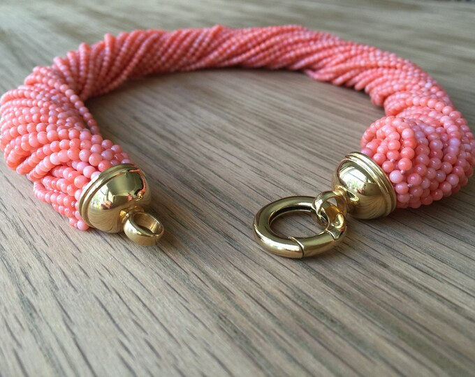Pink Coral beaded necklace with Italian gold clasp