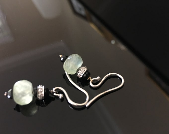 Prasiolite and Pavé Diamond Earrings