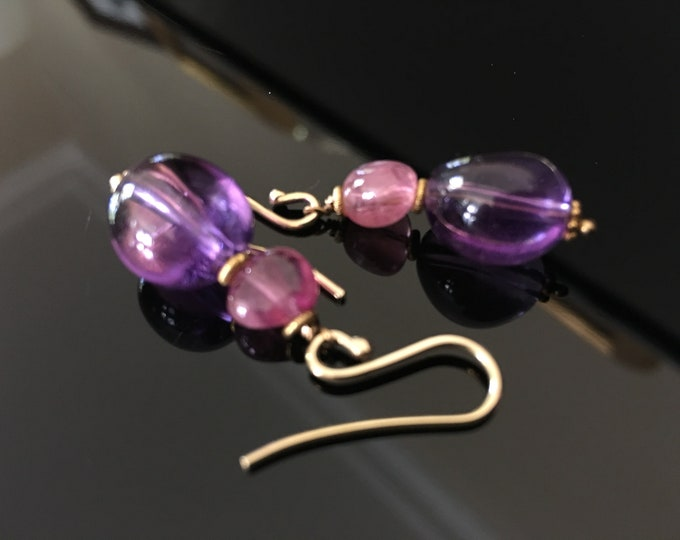 Amethyst Quartz Pendant Earrings and Pink Tourmaline