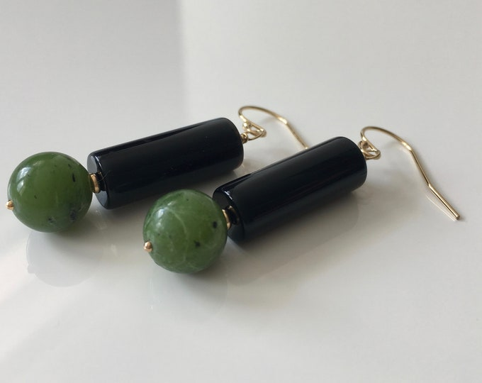 Jade and Onix Earrings