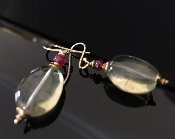 Lemon Quartz Earrings with Rubies