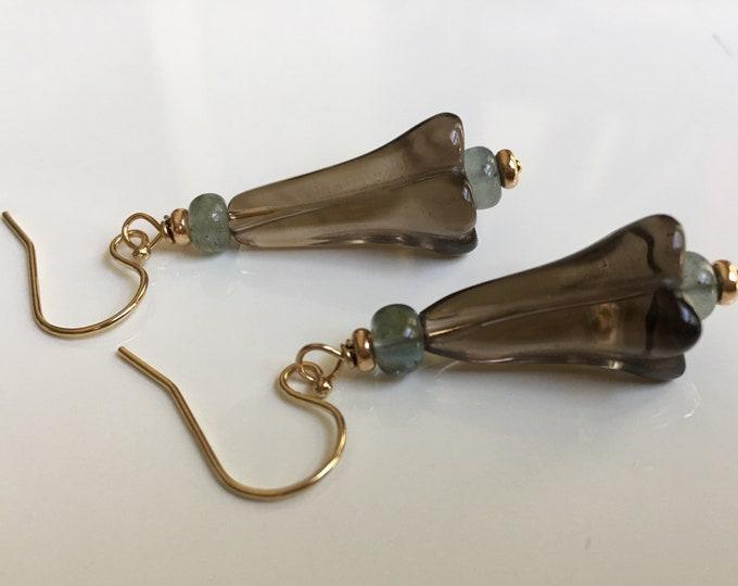 Gemstone flower earrings