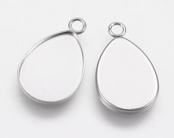 20 or 50-14mm Teardrop Bezel Cabochon Earring Studs Stainless Steel Wholesale Jewelry Supply- With Ear Nuts