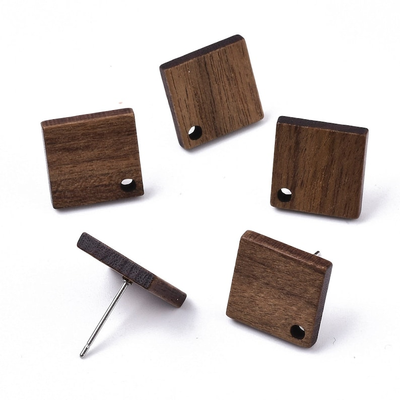 20 pieces 17mm Rhombus Brown Wood Earring Studs with Stainless Steel Pin Wholesale Jewelry Supply With Earring Nut