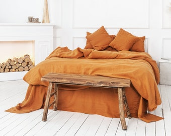 Burnt Orange linen duvet cover softened stonewashed linen bedding with zipper or button closure Christmas Gift