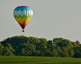 Hot Air Balloon Low Over the Trees Print - Blank Photo Note Card
