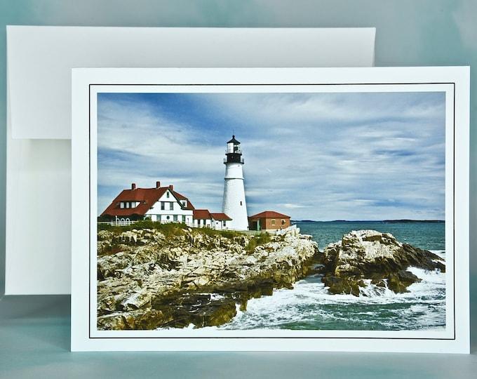 Lighthouse Photo Note Card - Portland Head Light - Blank Note Card