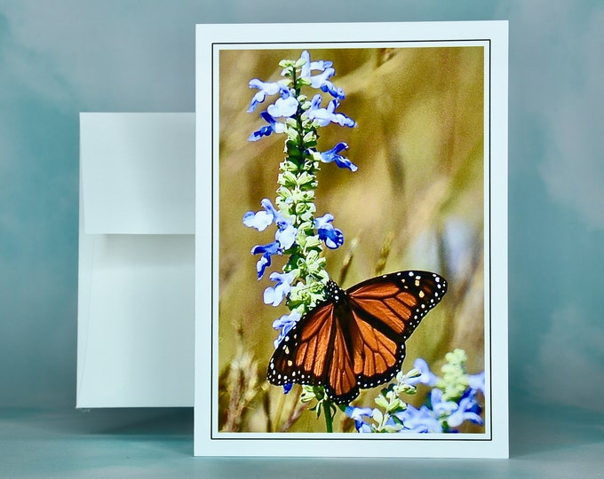 Butterfly Note Card - Monarch on Azure Blue Sage - Blank Note Card