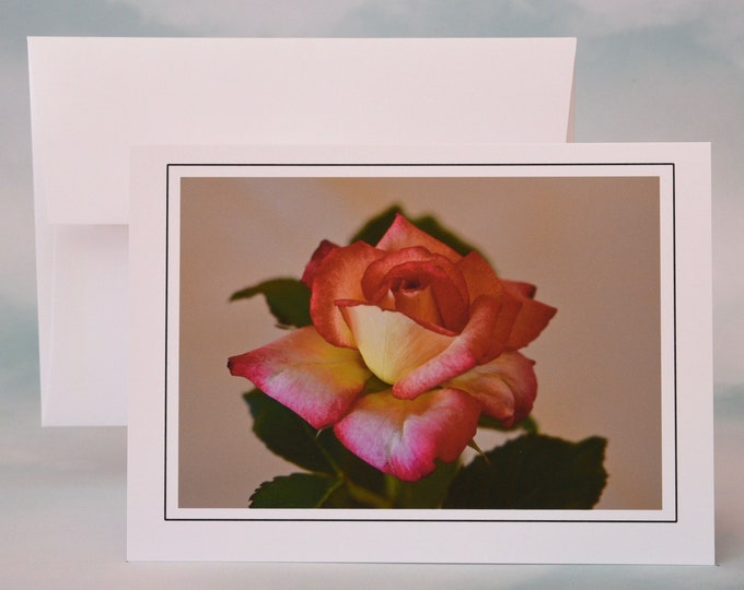 Yellow & Red Rose Photo Note Card - Greeting Card - Blank Note Card