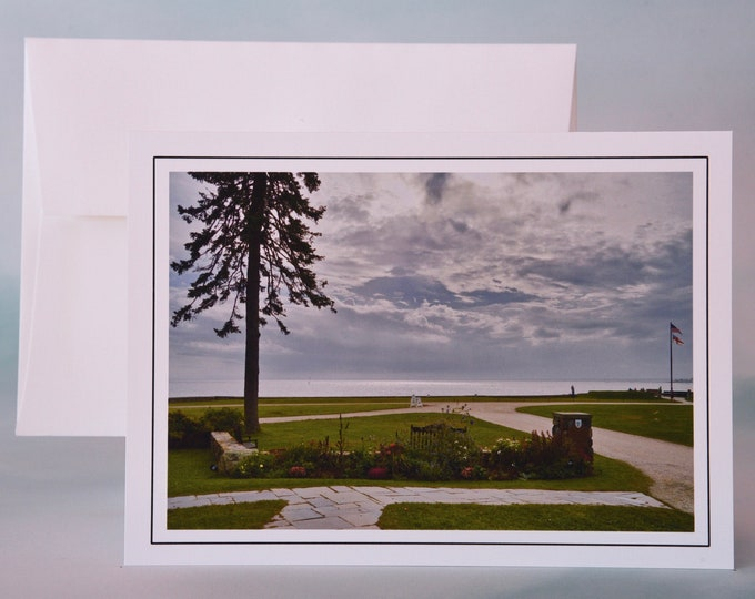 Coastal Photo Note Card - Blank Note Card - Ocean View from the Park