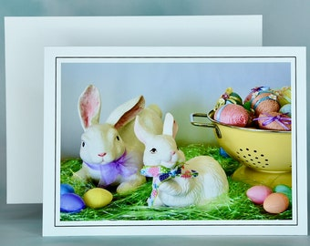 Easter Spring Note Card - Blank Note Card - Easter Greeting Card - Easter Bunnies