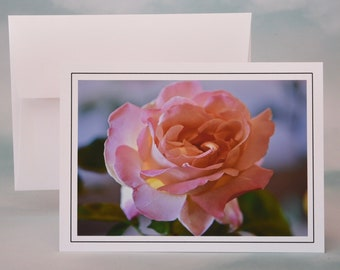Pink Rose Photo Note Card - Blank Note Card