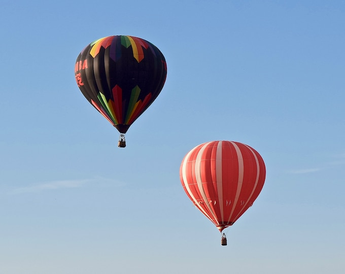 Hot Air Balloon Pair Print - Blank Photo Note Card