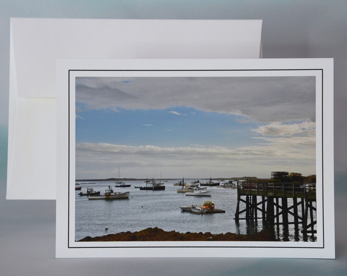Coastal Photo Note Card - Blank Note Card - Fishing Pier at Low Tide - Nautical - Harbor View