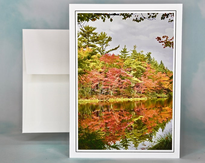 Autumn - Fall Photo Note Card - Blank Note Card - Fall Foliage at the Pond - Fall Color