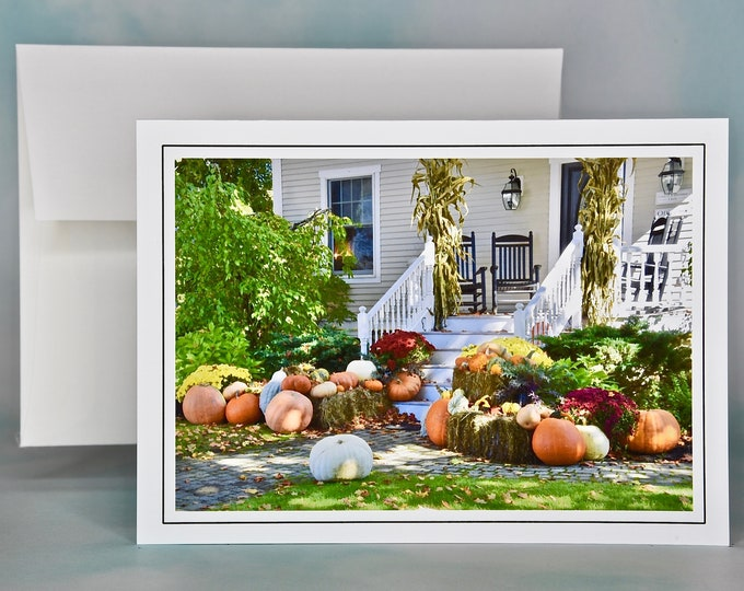 Autumn - Fall Photo Note Card - Blank Note Card - Pumpkins Around the Front Porch